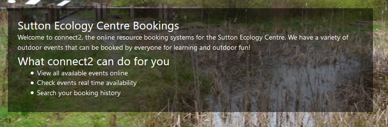 sutton ecology centre bookings
